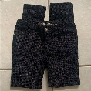 Girls Black Guess Sparkling Jeans Size 14